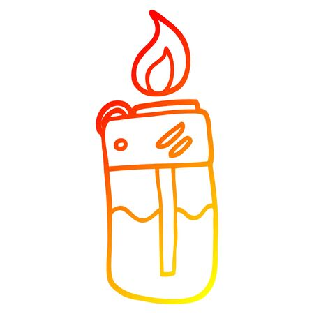 warm gradient line drawing of a cartoon cigarette lighter