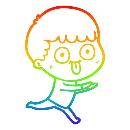 rainbow gradient line drawing of a cartoon man staring