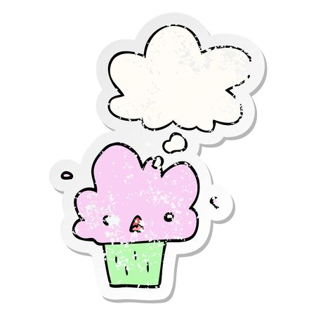 cartoon cupcake with thought bubble as a distressed worn sticker  イラスト・ベクター素材