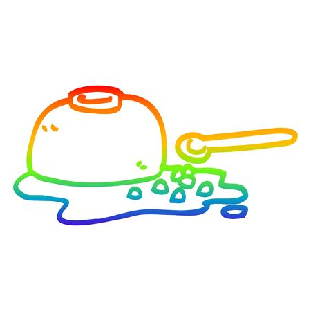 rainbow gradient line drawing of a cartoon spilt cereal bowl Ilustracja