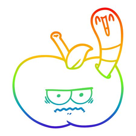 rainbow gradient line drawing of a cartoon worm eating an angry apple