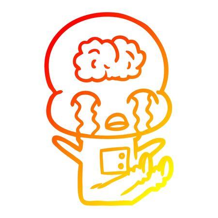 warm gradient line drawing of a cartoon big brain alien crying 스톡 콘텐츠 - 128867826