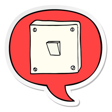 cartoon light switch with speech bubble sticker