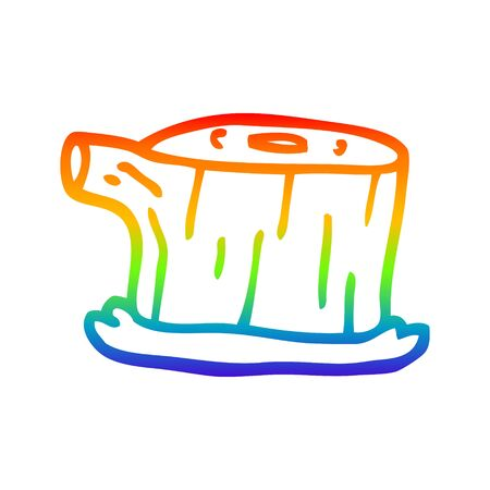 rainbow gradient line drawing of a cartoon tree log 向量圖像