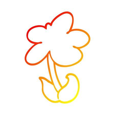 warm gradient line drawing of a cute cartoon flower