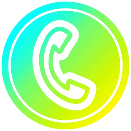 telephone handset circular icon with cool gradient finish Фото со стока - 129228121