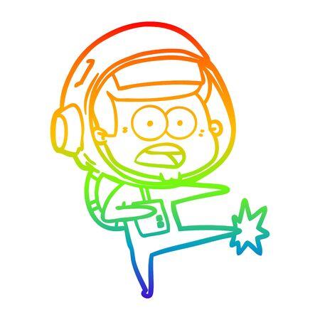 rainbow gradient line drawing of a cartoon surprised astronaut kicking