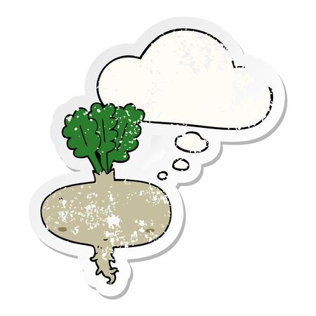 cartoon beetroot with thought bubble as a distressed worn sticker Illustration