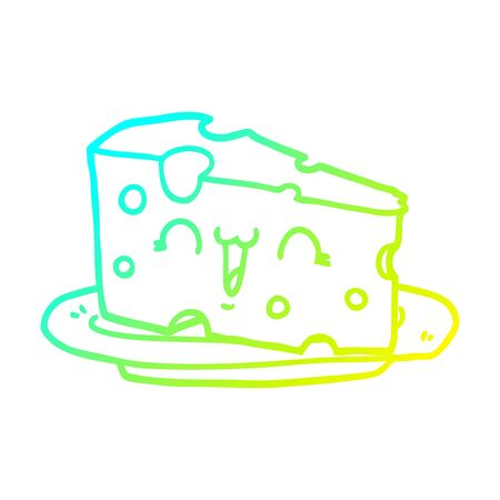 cold gradient line drawing of a cute cartoon cheese Foto de archivo - 128868114
