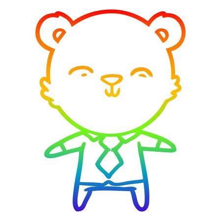 rainbow gradient line drawing of a happy cartoon polar bear office worker
