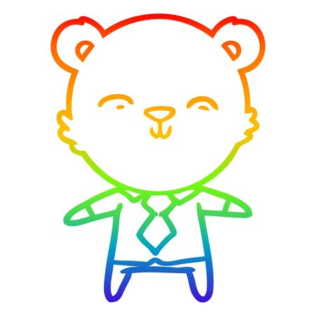 rainbow gradient line drawing of a happy cartoon polar bear office worker
