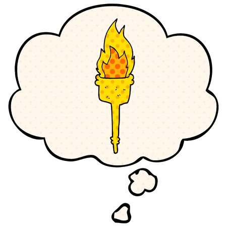 cartoon flaming torch with thought bubble in comic book style Stock fotó - 128869527