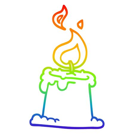 rainbow gradient line drawing of a cartoon lit candle Ilustracja