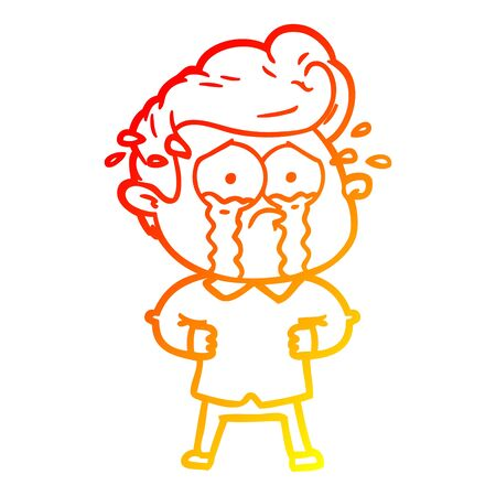 warm gradient line drawing of a cartoon crying man with hands on hips Ilustração