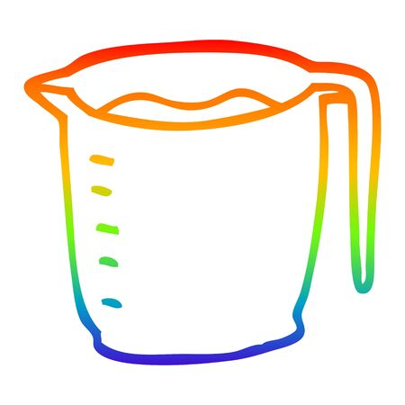 rainbow gradient line drawing of a cartoon jug