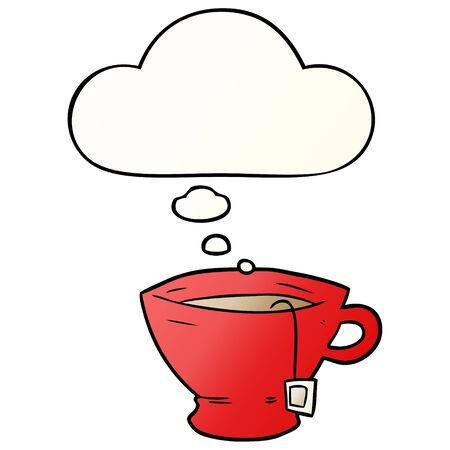 cartoon cup of tea with thought bubble in smooth gradient style Ilustração