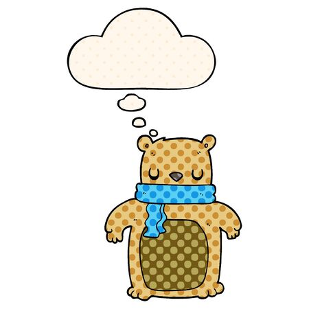 cartoon bear with scarf with thought bubble in comic book style