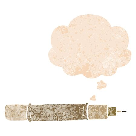 cartoon pen with thought bubble in grunge distressed retro textured style