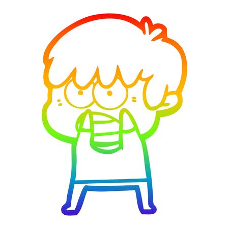 rainbow gradient line drawing of a worried cartoon boy