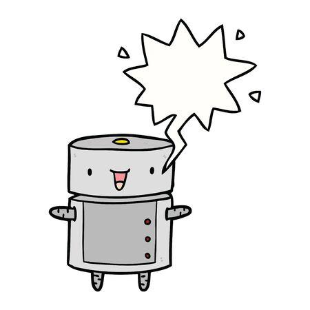 cute cartoon robot with speech bubble
