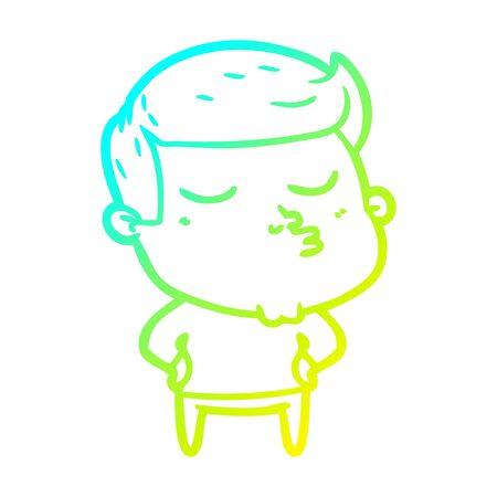 cold gradient line drawing of a cartoon model guy pouting Zdjęcie Seryjne - 129229968