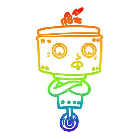 rainbow gradient line drawing of a cartoon robot with crossed arms Illusztráció