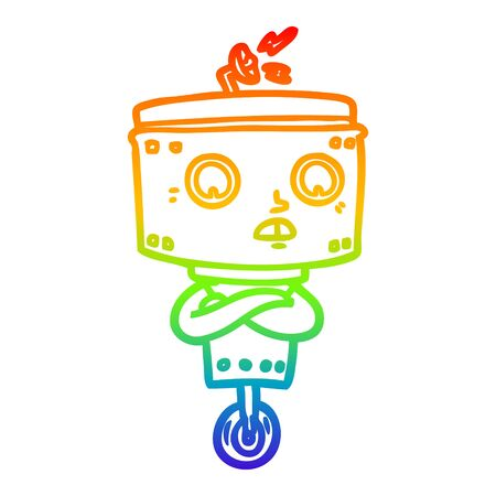 rainbow gradient line drawing of a cartoon robot with crossed arms Illustration