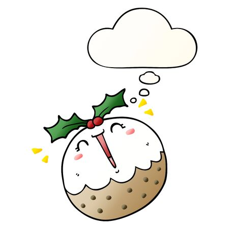 cute cartoon christmas pudding with thought bubble in smooth gradient style Ilustração