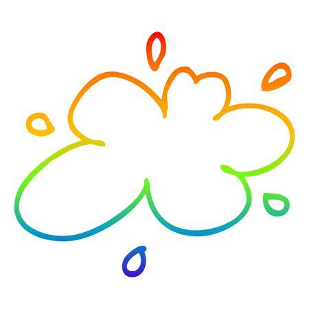 rainbow gradient line drawing of a cartoon water splash