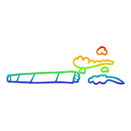 rainbow gradient line drawing of a cartoon lit joint