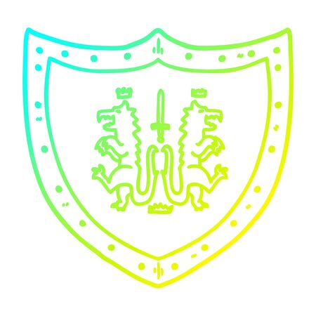 cold gradient line drawing of a cartoon heraldic shield