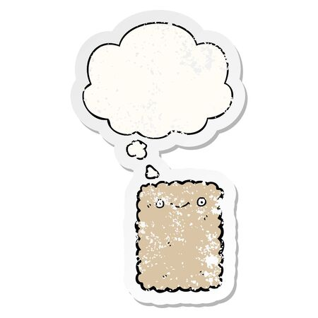 cartoon biscuit with thought bubble as a distressed worn sticker