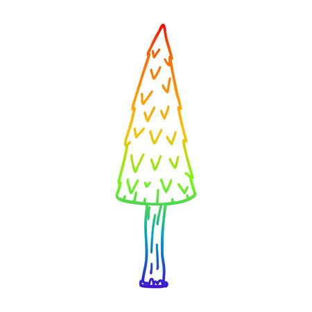 rainbow gradient line drawing of a cartoon christmas tree