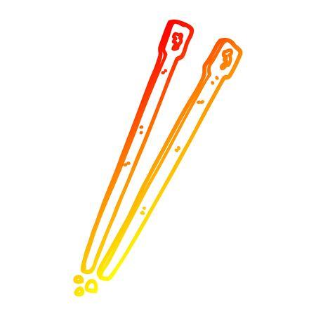 warm gradient line drawing of a cartoon chop sticks