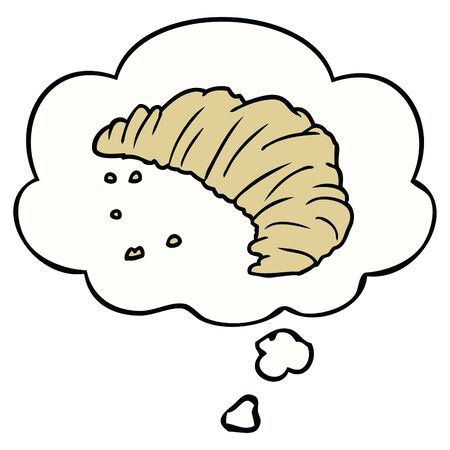 cartoon croissant with thought bubble 版權商用圖片 - 128877082