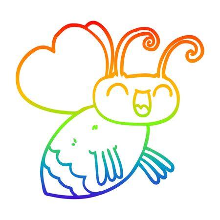rainbow gradient line drawing of a cartoon bug Foto de archivo - 129229904