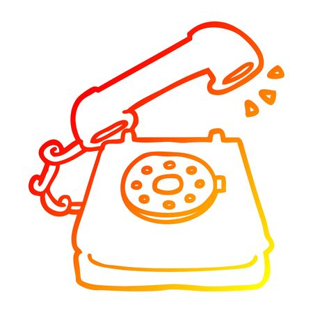 warm gradient line drawing of a cartoon ringing telephone