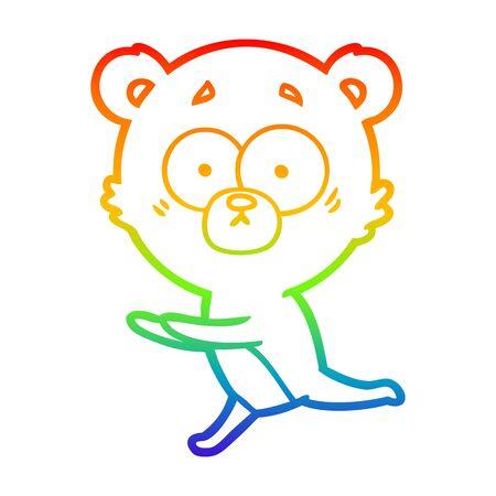 rainbow gradient line drawing of a worried bear cartoon