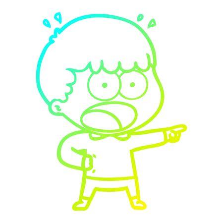 Ligne de gradient froid dessin d'un homme choqué pointant du doigt Vecteurs