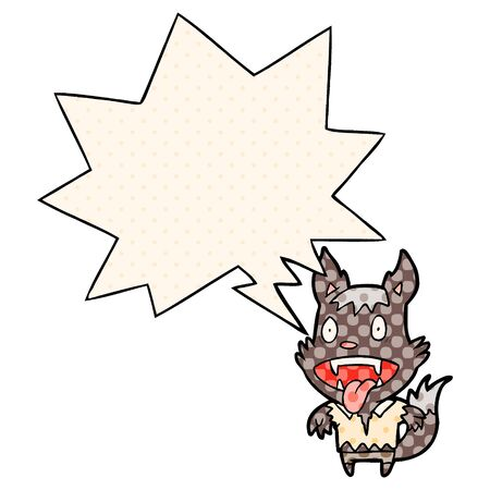 cartoon halloween werewolf with speech bubble in comic book style Çizim