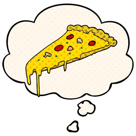 cartoon pizza slice with thought bubble in comic book style
