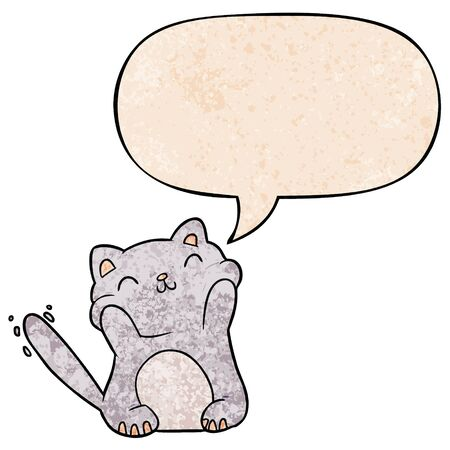 very happy cute cartoon cat  with speech bubble in retro texture style