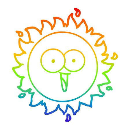 rainbow gradient line drawing of a happy cartoon sun Banque d'images - 128922108