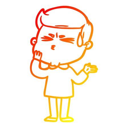 warm gradient line drawing of a cartoon man sweating Stock Illustratie