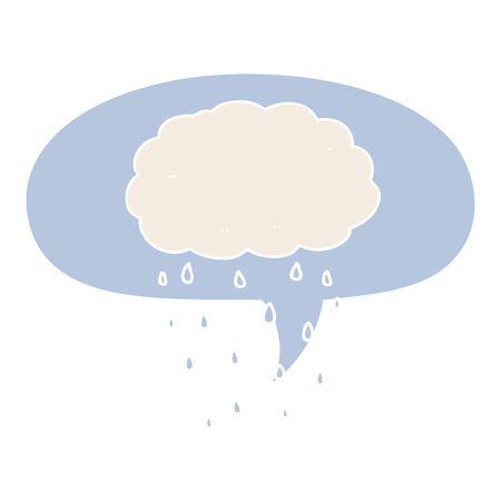 cartoon rain cloud with speech bubble in retro style