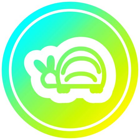cute beetle circular icon with cool gradient finish Ilustracja