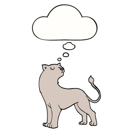 cartoon lioness with thought bubble