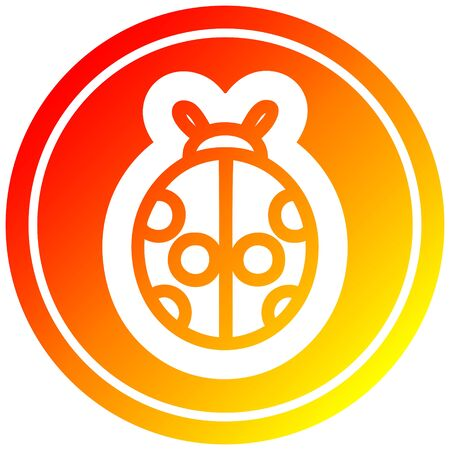 cute ladybug icon with warm gradient finish 矢量图像