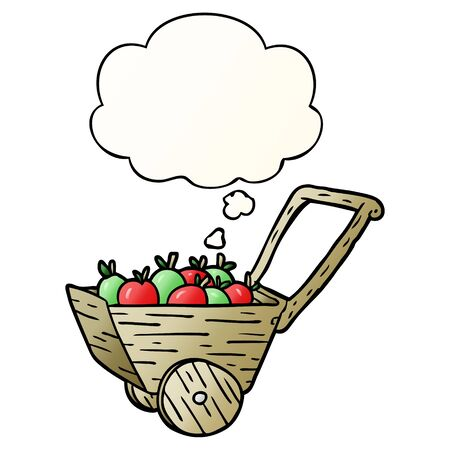 cartoon apple cart with thought bubble in smooth gradient style