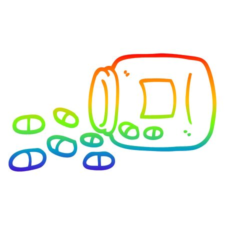 rainbow gradient line drawing of a cartoon jar of pills